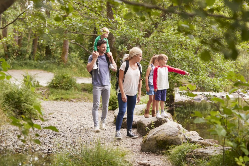 A family hiking in Wisconsin