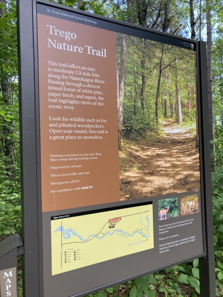 A sign for the Trego Nature Trail, a hiking trail in Wisconsin